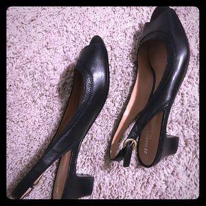 Black peep toe,sling back shoes